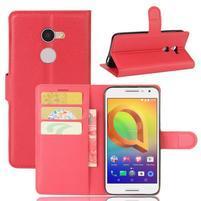 Graines PU kožné pouzdro na mobil Alcatel A3 - červené
