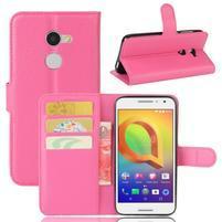 Graines PU kožné puzdro pre mobil Alcatel A3 - rose
