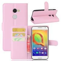 Graines PU kožné puzdro pre mobil Alcatel A3 - ružové