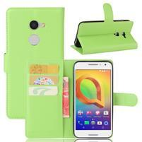 Graines PU kožné puzdro pre mobil Alcatel A3 - zelené