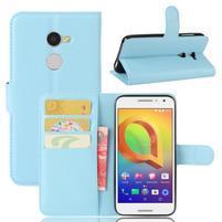 Graines PU kožné puzdro pre mobil Alcatel A3 - svetlomodré
