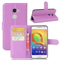 Graines PU kožné pouzdro na mobil Alcatel A3 - fialové