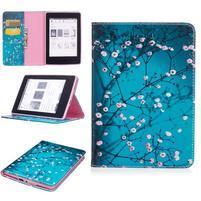 Color PU kožené pouzdro pro Amazon Kindle Paperwhite 1, 2 a 3 - kvetoucí strom