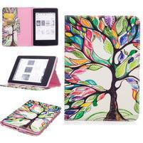 Color PU kožené pouzdro pro Amazon Kindle Paperwhite 1, 2 a 3 - barvitý strom