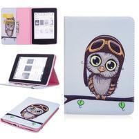 Color PU kožené pouzdro pro Amazon Kindle Paperwhite 1, 2 a 3 - sovička