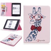 Color PU kožené pouzdro pro Amazon Kindle Paperwhite 1, 2 a 3 - žirafa s motýlkem