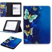 Color PU kožené pouzdro pro Amazon Kindle Paperwhite 1, 2 a 3 - elegantní motýlci