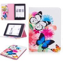 Color PU kožené pouzdro pro Amazon Kindle Paperwhite 1, 2 a 3 - motýlci
