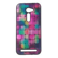 Gelový obal s imitací vroubkované kůže na Asus Zenfone 2 ZE500CL - mozaika barev