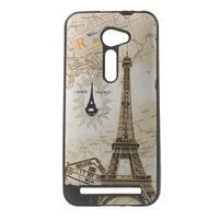 Gelový obal s imitací vroubkované kůže na Asus Zenfone 2 ZE500CL - Eiffelova věž