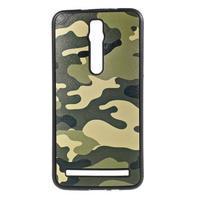 Gelový kryt s imitací vroubkované kůže pro Asus Zenfone 2 ZE551ML - vojenský