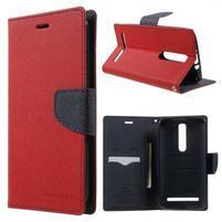 Zapínací PU kožené pouzdro na Asus Zenfone 2 ZE551ML - červené