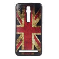 Gelový kryt s imitací vroubkované kůže pro Asus Zenfone 2 ZE551ML - UK vlajka