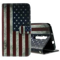 Zapínací peněženkové pouzdro na Asus Zenfone 2 ZE551ML - vlajka US