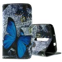 Zapínací peněženkové pouzdro na Asus Zenfone 2 ZE551ML - modrý motýl