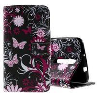 Zapínací peněženkové pouzdro na Asus Zenfone 2 ZE551ML - motýlci