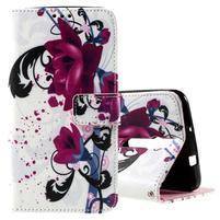 Zapínací peněženkové pouzdro na Asus Zenfone 2 ZE551ML - květiny
