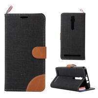 Černé peněženkové látkové/PU kožené pouzdro pro Asus Zenfone 2 ZE551ML