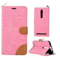 Růžové peněženkové látkové/PU kožené pouzdro pro Asus Zenfone 2 ZE551ML