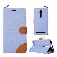 Světle modré peněženkové látkové/PU kožené pouzdro pro Asus Zenfone 2 ZE551ML