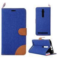 Modré peněženkové PU kožené pouzdro pro Asus Zenfone 2 ZE551ML