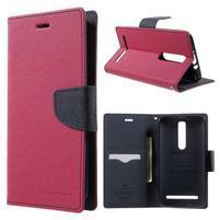 Zapínací PU kožené pouzdro na Asus Zenfone 2 ZE551ML - rose