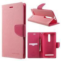 Zapínací PU kožené pouzdro na Asus Zenfone 2 ZE551ML - růžové