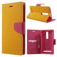 Zapínací PU kožené pouzdro na Asus Zenfone 2 ZE551ML - žluté