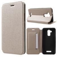 Sand PU kožené klopové pouzdro na Asus Zenfone 3 Max ZC520TL - zlaté