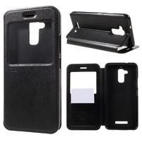 Noble Pu kožené pouzdro s okýnkem na Asus Zenfone 3 Max ZC520TL - černé