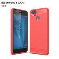 Carbon odolný gelový obal na Asus Zenfone 3 Zoom ZE553KL - červený