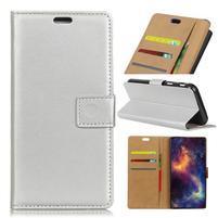 Wallet PU kožené knížkové pouzdro na Asus Zenfone 4 Max ZC520KL - stříbrné