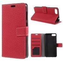 Texture PU kožené zapínací pouzdro na Asus Zenfone 4 Max ZC520KL - červené