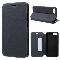 Sand klopové PU kožené pouzdro na Asus Zenfone 4 Max ZC554KL - černé