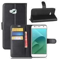 Wallet PU kožené zapínací pouzdro na Asus Zenfone 4 Selfie ZD553KL - černé