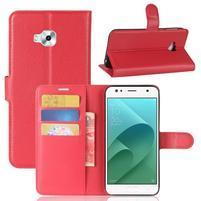 Wallet PU kožené zapínací pouzdro na Asus Zenfone 4 Selfie ZD553KL - červené