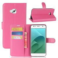 Wallet PU kožené zapínací pouzdro na Asus Zenfone 4 Selfie ZD553KL - rose