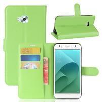 Wallet PU kožené zapínací pouzdro na Asus Zenfone 4 Selfie ZD553KL - zelené