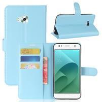 Wallet PU kožené zapínací pouzdro na Asus Zenfone 4 Selfie ZD553KL - světlemodré