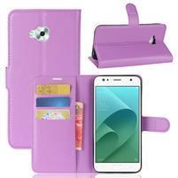 Wallet PU kožené zapínací pouzdro na Asus Zenfone 4 Selfie ZD553KL - fialové