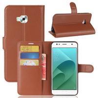 Wallet PU kožené zapínací pouzdro na Asus Zenfone 4 Selfie ZD553KL - hnědé