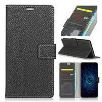 Texture PU kožené knížkové pouzdro na Asus Zenfone 4 Selfie ZD553KL - černé