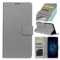 Texture PU kožené knížkové pouzdro na Asus Zenfone 4 Selfie ZD553KL - šedé