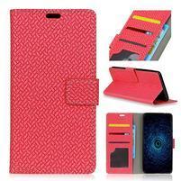 Texture PU kožené knížkové pouzdro na Asus Zenfone 4 Selfie ZD553KL - červené