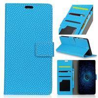 Texture PU kožené knížkové pouzdro na Asus Zenfone 4 Selfie ZD553KL - modré