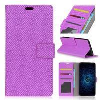 Texture PU kožené knížkové pouzdro na Asus Zenfone 4 Selfie ZD553KL - fialové
