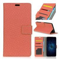 Texture PU kožené knížkové pouzdro na Asus Zenfone 4 Selfie ZD553KL - hnědé