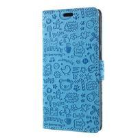 Cartoo PU kožené pouzdro na Asus Zenfone 4 Selfie ZD553KL - modré