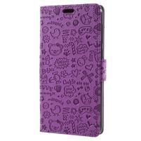 Cartoo PU kožené pouzdro na Asus Zenfone 4 Selfie ZD553KL - fialové