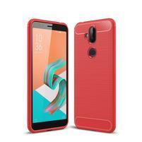Carbo odolný gelový obal s texturou na Asus Zenfone 5 Lite - červený
